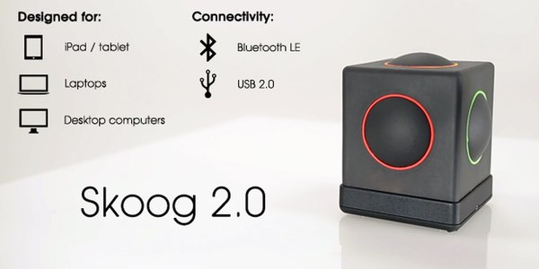 Skoog 2.0 information, Designed for iPad/Tablets, Laptops, Desktop Computers and Connectivity with Bluetooth LE and USB 2.0