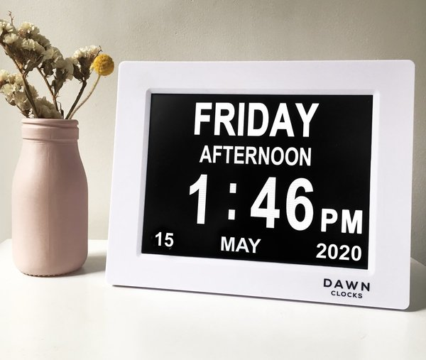 Dawn clock displaying Calendar entry with large print, FRIDAY - AFTERNOON - 1:46PM - 15 MAY 2020
